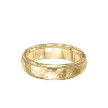ArtCarved 6MM Men's Wedding Band - Hammered Satin Finish and Round Edge in 18k Yellow Gold