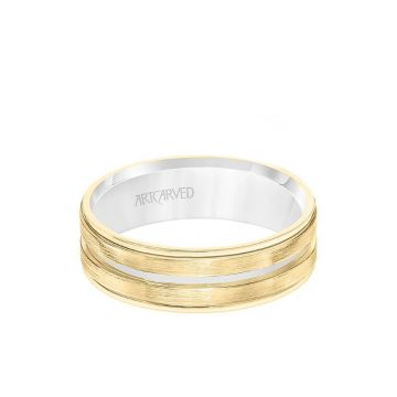 ArtCarved 6.5MM Men's Wedding Band - White Gold Brush Finish with Rose Gold Cut Center with Rose Gold Interior and Round Edge in 14k White and Yellow Gold