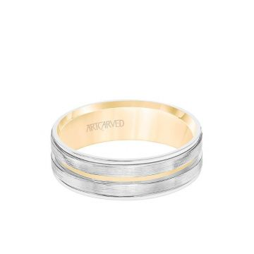 ArtCarved 6.5MM Men's Wedding Band - White Gold Brush Finish with Rose Gold Cut Center with Rose Gold Interior and Round Edge in 14k Yellow and White Gold