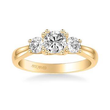 ArtCarved Amanda Classic Three Stone Diamond Engagement Ring in 18k Yellow Gold