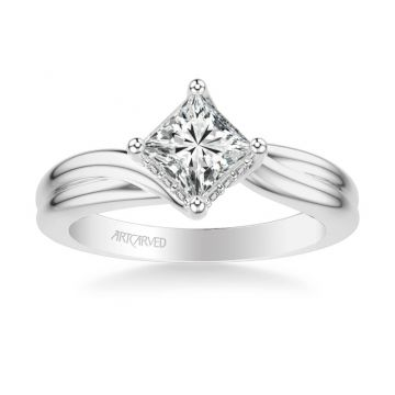ArtCarved Whitney Contemporary Solitaire Twist Diamond Engagement Ring in 18k White Gold
