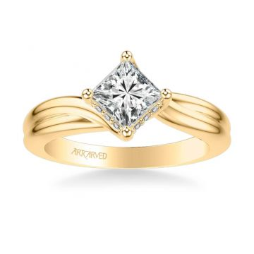 ArtCarved Whitney Contemporary Solitaire Twist Diamond Engagement Ring in 18k Yellow Gold