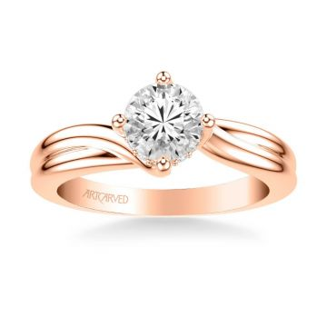 ArtCarved Whitney Contemporary Solitaire Twist Diamond Engagement Ring in 14k Rose Gold