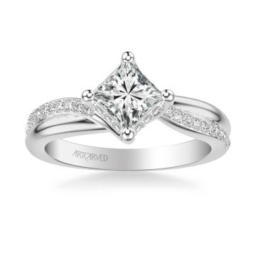 ArtCarved Platinum Stella Contemporary Side Stone Twist Diamond Engagement Ring