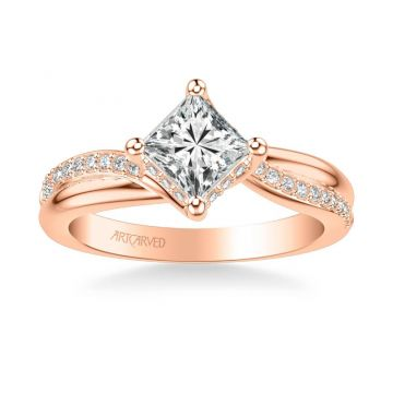 ArtCarved Stella Contemporary Side Stone Twist Diamond Engagement Ring in 14k Rose Gold