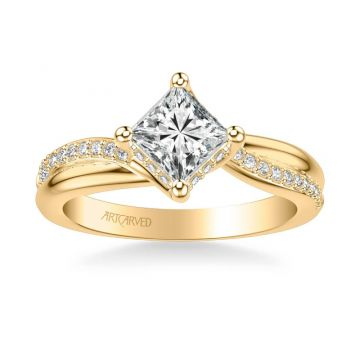 ArtCarved Stella Contemporary Side Stone Twist Diamond Engagement Ring in 14k Yellow Gold