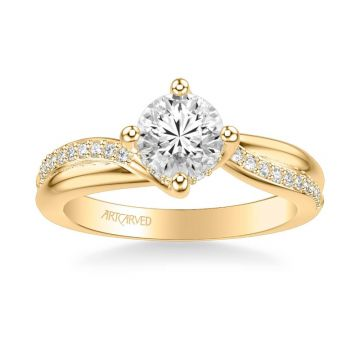 ArtCarved Stella Contemporary Side Stone Twist Diamond Engagement Ring in 18k Yellow Gold