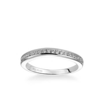 ArtCarved Carina Contemporary Channel Set Diamond Wedding Band in 14k White Gold
