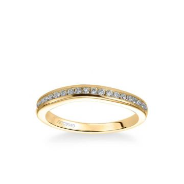 ArtCarved Carina Contemporary Channel Set Diamond Wedding Band in 14k Yellow Gold