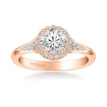 ArtCarved Farrah Vintage Round Halo Diamond Engagement Ring in 14k Rose Gold