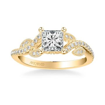 ArtCarved Milena Contemporary Side Stone Floral Diamond Engagement Ring in 18k Yellow Gold