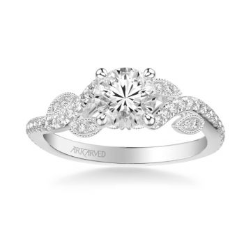 ArtCarved Milena Contemporary Side Stone Floral Diamond Engagement Ring in 18k White Gold