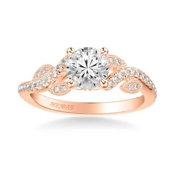 ArtCarved Milena Contemporary Side Stone Floral Diamond Engagement Ring in 14k Rose Gold