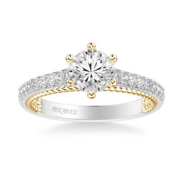 ArtCarved Ilena Contemporary Side Stone Rope Diamond Engagement Ring in 18k White and Yellow Gold