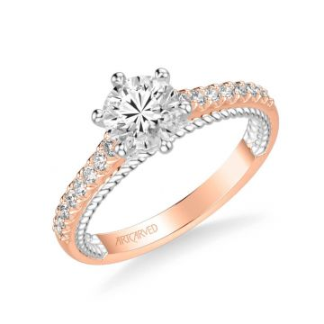 ArtCarved Ilena Contemporary Side Stone Rope Diamond Engagement Ring in 18k Rose and White Gold