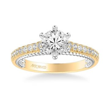ArtCarved Ilena Contemporary Side Stone Rope Diamond Engagement Ring in 18k Yellow and White Gold