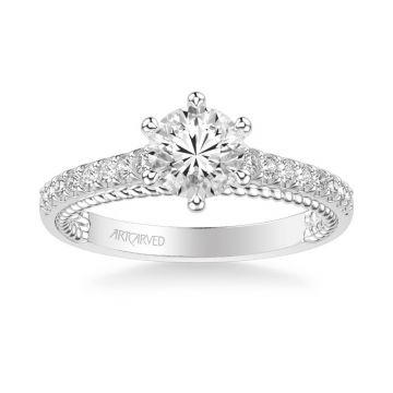 ArtCarved Platinum Ilena Contemporary Side Stone Rope Diamond Engagement Ring