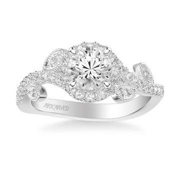 ArtCarved Thalia Contemporary Round Halo Floral Diamond Engagement Ring in 18k White Gold