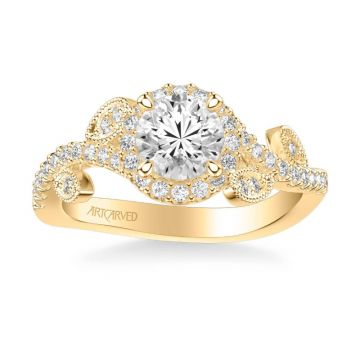 ArtCarved Thalia Contemporary Round Halo Floral Diamond Engagement Ring in 18k Yellow Gold