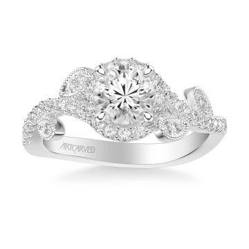ArtCarved Platinum Thalia Contemporary Round Halo Floral Diamond Engagement Ring