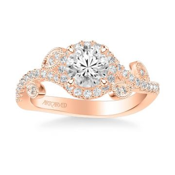 ArtCarved Thalia Contemporary Round Halo Floral Diamond Engagement Ring in 14k Rose Gold
