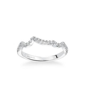 ArtCarved Platinum Thalia Contemporary Diamond Curved Wedding Band