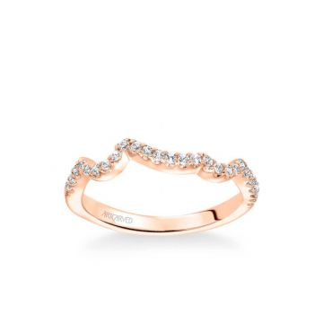 ArtCarved Thalia Contemporary Diamond Curved Wedding Band in 18k Rose Gold