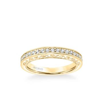 ArtCarved Cossette Vintage Heritage Collection Diamond and Milgrain Filigree Scrollwork Wedding Band in 18k Yellow Gold