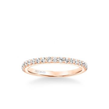 ArtCarved Lenore Classic Diamond Wedding Band in 18k Rose Gold