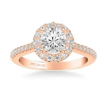 ArtCarved Judith Classic Round Halo Diamond Engagement Ring in 18k Rose Gold