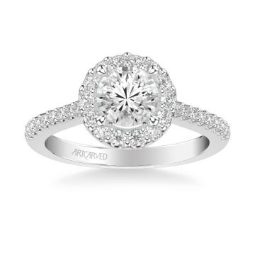 ArtCarved Judith Classic Round Halo Diamond Engagement Ring in 14k White Gold