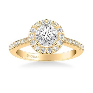 ArtCarved Judith Classic Round Halo Diamond Engagement Ring in 14k Yellow Gold