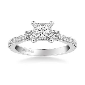 ArtCarved Platinum Jill Classic Three Stone Diamond Engagement Ring