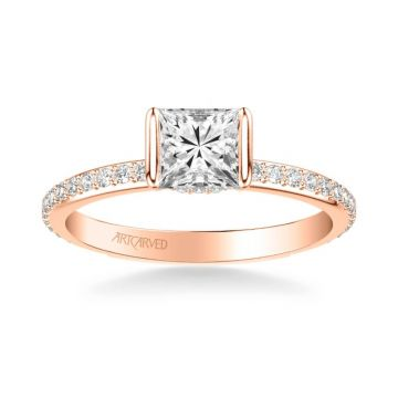 ArtCarved Gray Contemporary Side Stone Bezel Diamond Engagement Ring in 14k Rose Gold