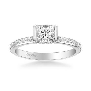 ArtCarved Gray Contemporary Side Stone Bezel Diamond Engagement Ring in 14k White Gold