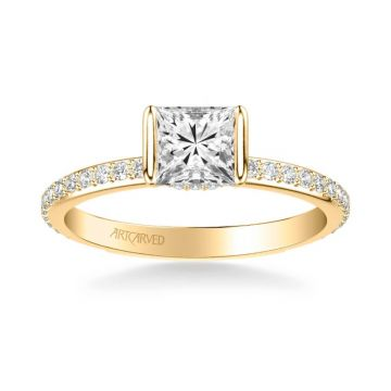 ArtCarved Gray Contemporary Side Stone Bezel Diamond Engagement Ring in 14k Yellow Gold