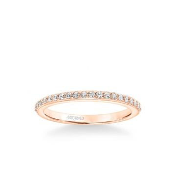 ArtCarved Gray Contemporary Diamond Wedding Band in 18k Rose Gold