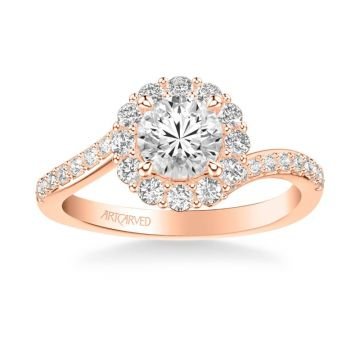 ArtCarved Sierra Contemporary Bypass Halo Twist Diamond Engagement Ring in 18k Rose Gold