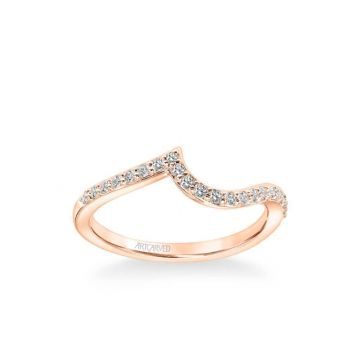ArtCarved Sierra Contemporary Diamond Curve Wedding Band in 14k Rose Gold
