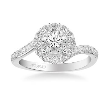 ArtCarved Sierra Contemporary Bypass Halo Twist Diamond Engagement Ring in 18k White Gold