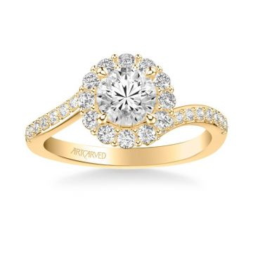 ArtCarved Sierra Contemporary Bypass Halo Twist Diamond Engagement Ring in 18k Yellow Gold