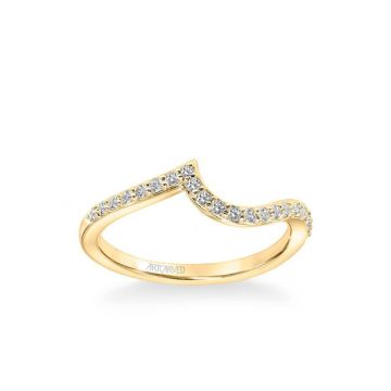 ArtCarved Sierra Contemporary Diamond Curve Wedding Band in 18k Yellow Gold