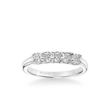 ArtCarved Five Stone Anniversary Band 1/2 ctw in 18k White Gold