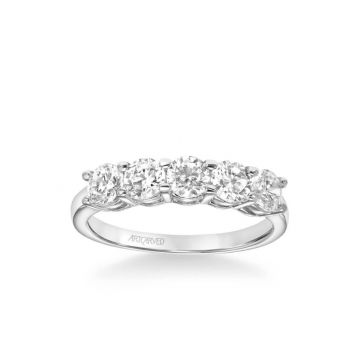 ArtCarved Five Stone Anniversary Band 1 1/2 ctw in 18k White Gold