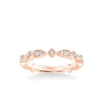 ArtCarved Stackable Band with Diamond and Milgrain Accented Multi-Shape Design in 14k Rose Gold