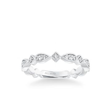 ArtCarved Stackable Band with Diamond and Milgrain Accented Multi-Shape Design in 18k White Gold