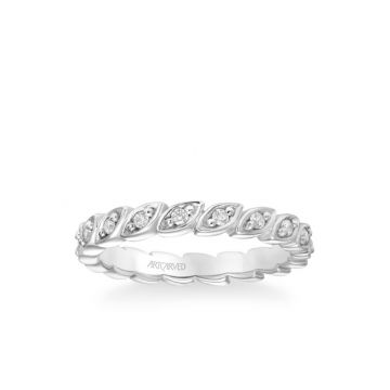 ArtCarved Stackable Eternity Band with Diamond Petal Design in 14k White Gold