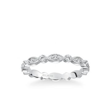 ArtCarved Stackable Eternity Band with Diamond and Milgrain Multi-Shape Alternating Design in 18k White Gold