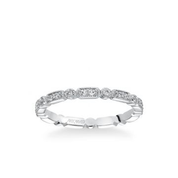 ArtCarved Stackable Eternity Band with Diamond and Milgrain Multi-Shape Details in 18k White Gold
