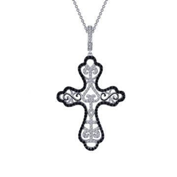 Lafonn Rhonda Faber Green Silver Tone Diamond Religiou Necklace
